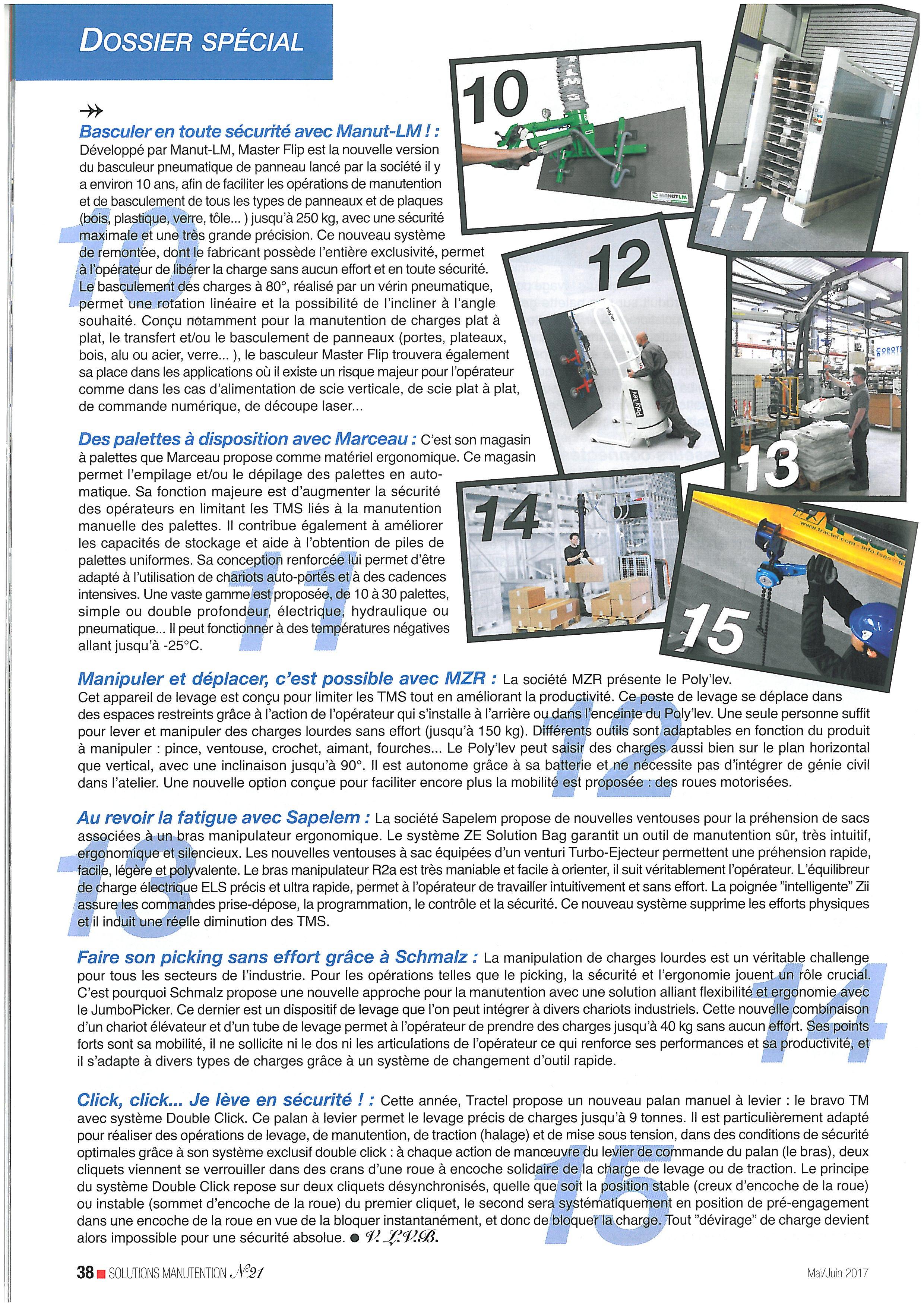 Dossier spécial : Les matériels d'aide à la manutention et le levage -(Solutions Manutention n°21 – mai/juin 2017)